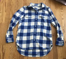 Madewell  Blue /White checkered Button down flannel shirt 100% Cotton Size Small