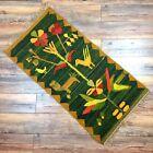 "Vtg Tree of Life Knotted Wool Polish Kilim Rug Tapestry MCM Fringe Green 57x26"""