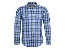 Hugo Boss Freizeithemd S CalifoE pastelgrün/blau/weiß Baumwolle orange Label