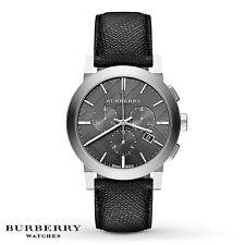 NIB BURBERRY Mens Watch The City Black Leather PVC Silver Case 42MM. BU9362 $595