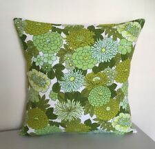 Handmade Retro Cushion Cover - Vintage 1960/1970s Green Flower Power Design 16""