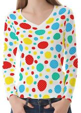 Geometric Polka Dot Women Lady V Neckline Long Sleeve Tee T-shirt b23 acq02747
