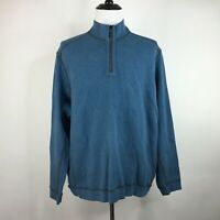 Tommy Bahama Mens Long Sleeve 1/4 Zip Pullover Sweater Reversible Blue Gray XL