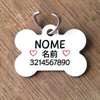 Medaglietta PERSONALIZZATA cane forma di osso NOME giapponese telefono