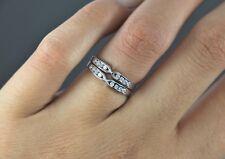 14K White Gold 0.24ct Round Diamond Wedding Band Anniversary Ring Sz 4.75