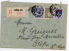 LETTRE ENVELOPPE / AFFRANCHISSEMENT COMPOSE / EN RECOMMANDE / PARIS GAP 1949