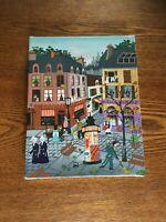"Signed Miniature Folk Art Style Painting - Paris Street Scene ""Empi 83"""