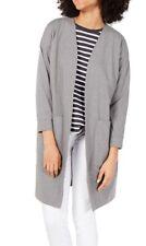 Eileen Fisher Womens Sweater Moon Gray Medium M Longline Knit Cardigan $218 103