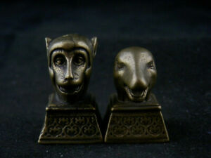 2Pics Unusual Chinese Brass Hand Made *Monkey & Snake* Little Seals DD138