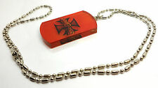 Army Marines Orange Dog Tag Pendant Bead Chain Necklace Mens Hip Hop Jewelry