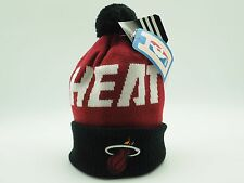 Miami Heat NBA Adidas Kids Boys (4-7) OSFM Winter Cuffed Pom Knit Beanie Hat Cap