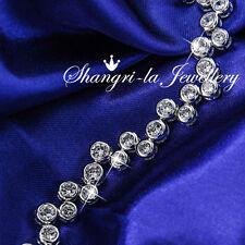 9K White GOLD GF Ball SILVER Wedding BRACELET with SWAROVSKI CRYSTAL EX754