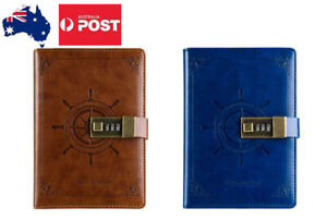B6 Rudder Leather Vintage password Lock Notebook Diary JOURNAL
