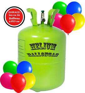Ballongas Helium 30 Luftballons a´23 cm Heliumflasche oder Helium Tank Ballons