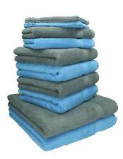Betz Juego de 10 toallas PREMIUM 100% algodón en azul claro y gris antracita