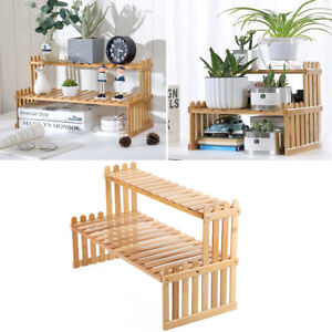 2 Tier Wood Ladder Shelf Spice Rack Plant Stand Crafts Display Holder Table Tidy