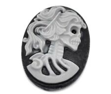 10 BLACK/GREY OVAL CAMEO CABOCHONS-GOTHIC SKELETON-FLATBACK/RESIN-25MM-HEAD