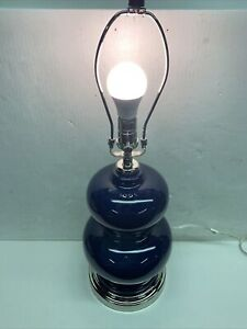 Pottery Barn Alexis CFL Bedside Lamp with USB Navy Blue No Shade