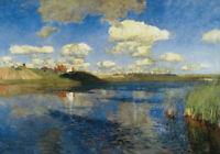Dream-art Oil painting 列维坦作品 俄罗斯的湖 Leviathan's Lake in Russia hand painted art