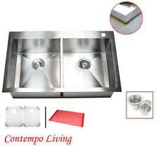 """New listing 36"""" x 22"""" Stainless Steel Double Bowl 50/50 Topmount Drop In Kitchen Sink Combo"""