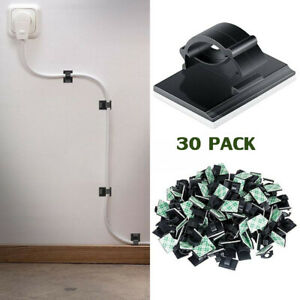 30x Self Adhesive Car Wire Clips Tie Sticker Office Cable Cord Clamps Organizer