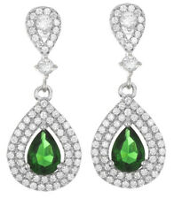 Tear Drop Hanging Womens Earrings 925 Sterling Silver White& Emerald Cz