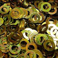 "1,000 Pieces 3//8/"" USS Thru-Hardened Flat Washer Yellow Zinc Grade 8"