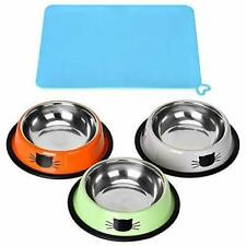 3 Piece Cat Food Bowl, Stainless Steel with floor mat, Feeding Bowl Cat Food