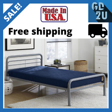 """6"""" Quilted Mattress Twin Size Memory Foam Home Bedroom Bed Sleeping Navy Blue"""
