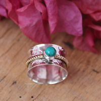 925 sterling silver band Spinner Ring, Meditation Ring, Turquoise All Size P-02