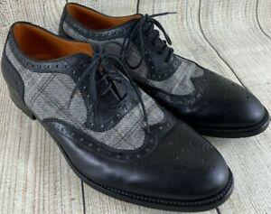 ETRO Milano Black Leather Plaid Fabric Lace Up Dress Shoes Men's EU 42 US 9