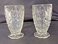 """2 JEANNETTE GLASS THUMBPRINT SCALLOPED FOOTED JUICE GLASSES 4 1/4"""""""