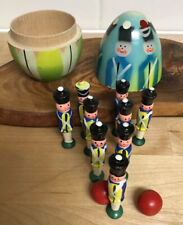 Poland Nesting Doll Toy Soldier Bowling Game Toy Hand painted Christmas Holiday
