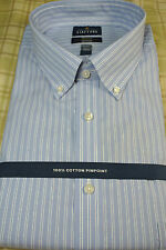 NWT $60 Stafford Executive Blue Double Pinstripe L/S Dress Shirt TALL 17 - 36/37