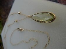 Lange Goldkette mit grünem Amethyst, 585 Gold Filled