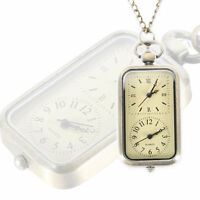 Antique Steampunk Quartz Dual Time Zone Necklace Chain Fob Pocket Watch Gifts