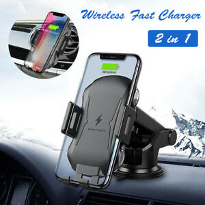 2 in 1 Wireless Car Charger Fast Charging Dashboard Air Vent Mount Phone Holder