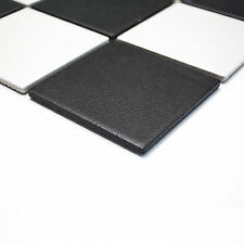 Fliesen Mosaik Bad Küche Boden WC Keramik Quadrat schwarz weiß 6mm Neu R10B #264
