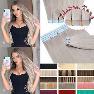 20pcs Tape In Remy Human Hair Extensions Thick Skin Weft Full Head Straight Gray