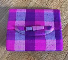 Vintage Clutch Purse Handbag Bow Pink Purple 100% silk handwoven San Francisco