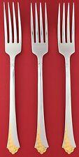 """Set of 3 CUBE Oneida GOLDEN DAMASK ROSE Heirloom USA Stainless DINNER FORKS 8"""""""