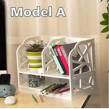 2 Tiers DIY White Wooden Bookshelf Unit Display Shelve Small Book Storage Box