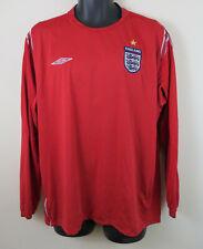 Umbro England 2004-06 Football Shirt Red Away Long Sleeve Jersey Mens 2XL XXL