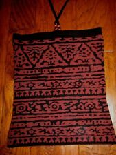 MARGARET OLEARY TUBE HALTER TOP Stretchy Knit Ethnic Tribal Design