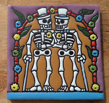"Talavera Mexican tile 4"" Day of  the Dead high relief Gay Wedding Men 2 Grooms 1"