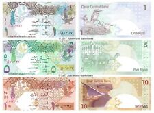 Qatar 1 + 5 + 10 Riyals 2008 Lot de 3 billets 3 pcs UNC
