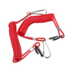 Outboard Engine Ignition Emergency Kill Stop Switch Key Lanyard Ropes Red 2x