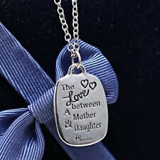 Mother of the Bride Gifts Engraved Pendant Silver Stamped Love Between Necklace