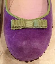 MARC JACOBS Purple Suede Ballerina Flats w/ Light Green Trim & Bow, Sz 6 M Italy