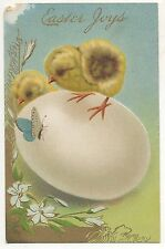 Easter Joys, Cute Chicks on Egg, Butterfly - Vintage Postcard